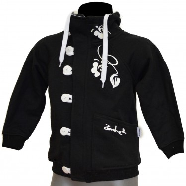 Barsen Kids' B/WH – Deluxe kids' zip through hoodie with a stand-up collar
