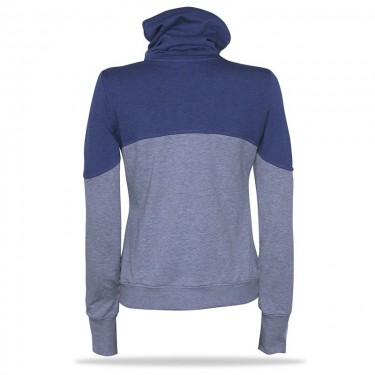 Barrsa Simple BLU/GY – Women's pullover hoodie with a stand-up collar