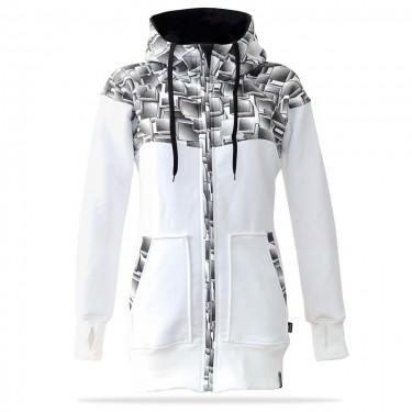 Barrsa Cubes Premium WH/BK – Women's zip through hoodie with a hood