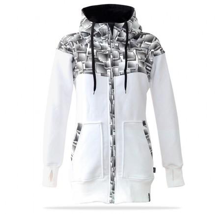 Dámská mikina na zip s kapucí Barrsa Cubes Premium WH/BK