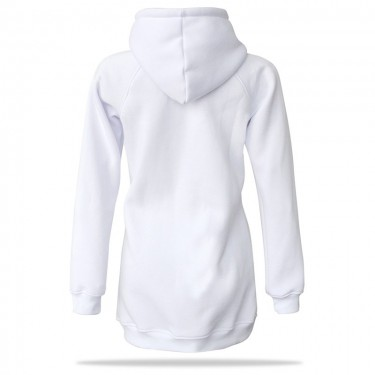 Barrsa Goldie Long WHT – Women's pullover hoodie with a hood