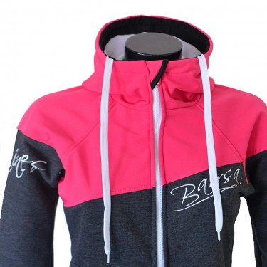 Dámská softshell bundomikina s kapucí na zip Barrsa Double Soft Script Pink/Grey