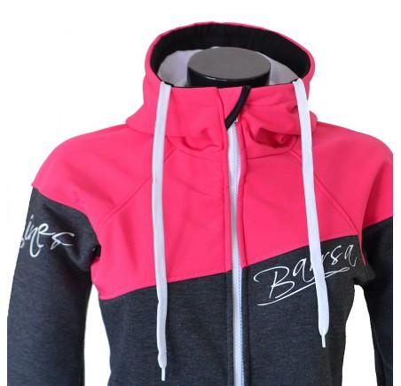 Dámská softshell bundomikina s kapucí na zip Barrsa Double Soft Script Pink/Grey