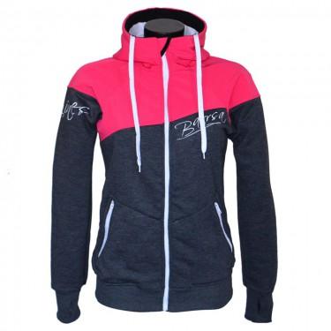 Damen-Softshell Hoodie-Jacke mit Reißverschluss Barrsa Double Soft PINK/GREY