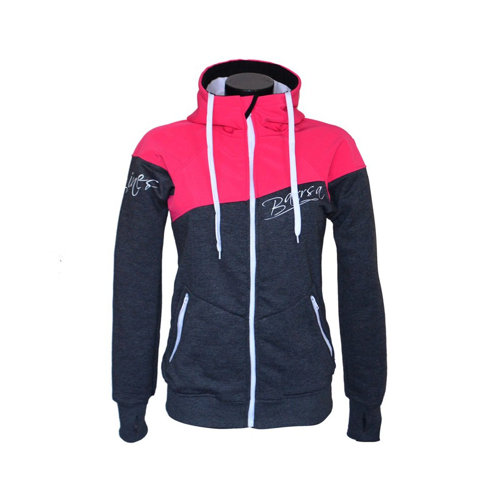 Ladies softshell jacket-hoodie with zipper Barrsa Double Soft RED / GREY