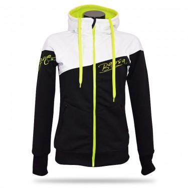 Ladies softshell jacket-hoodie with zipper Barrsa Double Soft WHITE/BLACK
