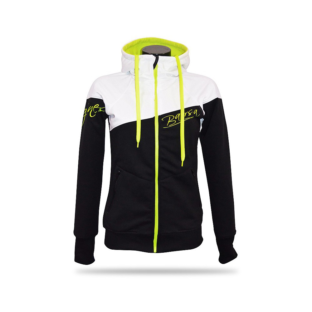 Ladies softshell jacket-hoodie with zipper Barrsa Double Soft WHITE/BLACK