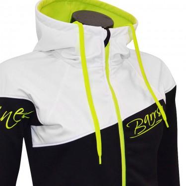 Dámská softshell bundomikina s kapucí na zip Barrsa Double Soft Script White/Black