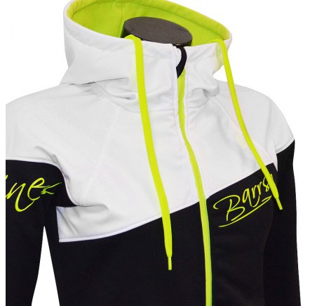 Dámská softshell bundomikina s kapucí na zip Barrsa Double Soft Script White/Black