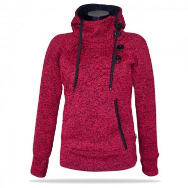 Barrsa Snow Red/Melange - Damen Sweatshirt mit stehenden Kragen über den Kopf