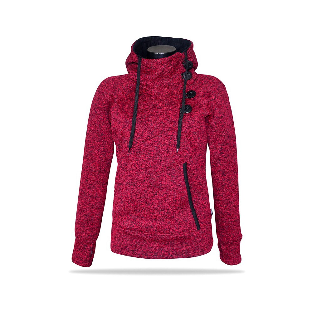 Barrsa Snow Pink/Melange – Women's pull hoodie with a stand-up collar