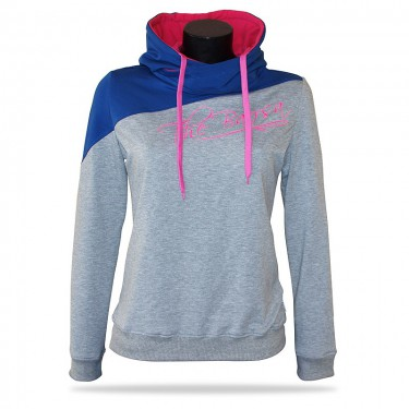 Women's pullover hoodie Barrsa Double Script WHT/LIME