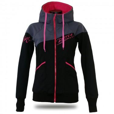 Ladies softshell jacket-hoodie with zipper Barrsa Double Soft Script Pink Stars/Grey