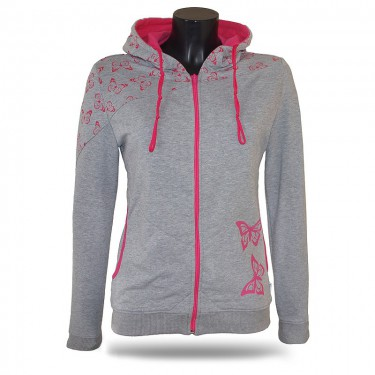 Ladies softshell jacket-hoodie with zipper Barrsa Double Soft Script Pink Stars/Grey