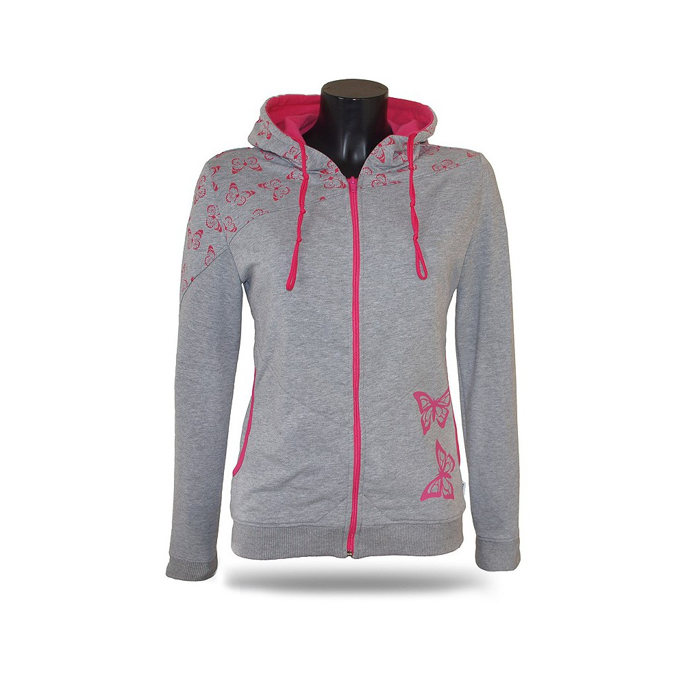9978015506a6 Dámska mikina s kapucňou na zips Barrs Butterfly Grey   Pink ...