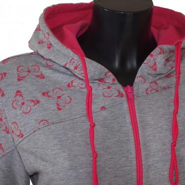 Dámská mikina s kapucí na zip Barrsa Butterfly Grey/Pink