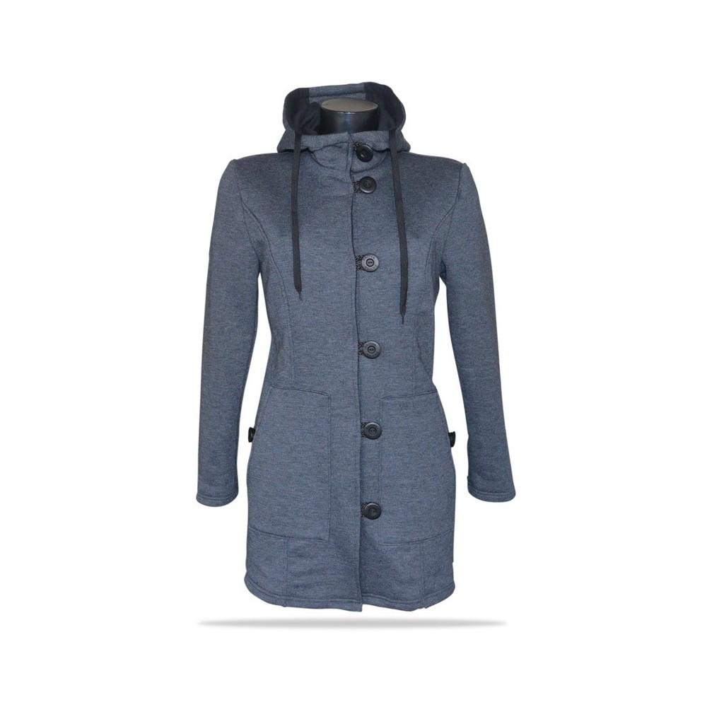 Dámský kabát propínací s kapucí Barrsa Princess Simple Coat Grey