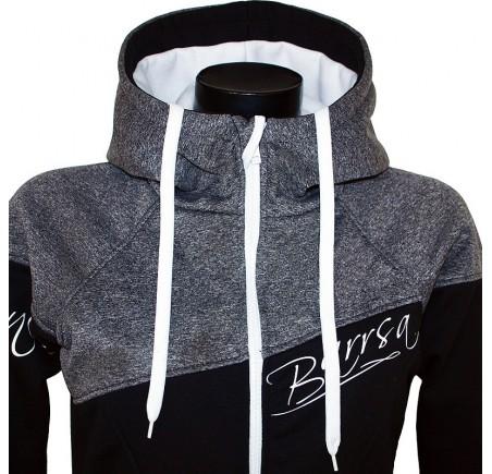 Dámská softshell bundomikina s kapucí na zip Barrsa Double Soft Script GreyMel/Black