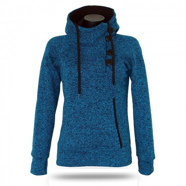 Barrsa Snow Turq/Melange – Women's pull hoodie with a stand-up collar