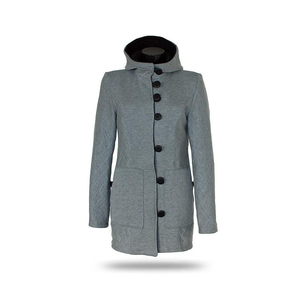 Dámský kabát propínací s kapucí Barrsa Princess Coat Grey