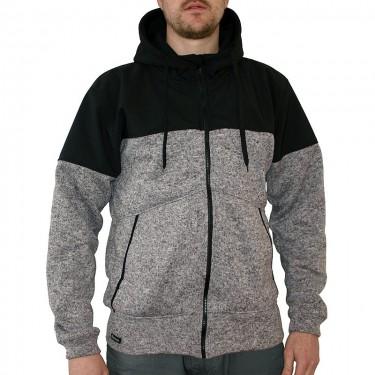 Pánský svetr na zip s kapucí Barrsa Function Grey Melange/Black