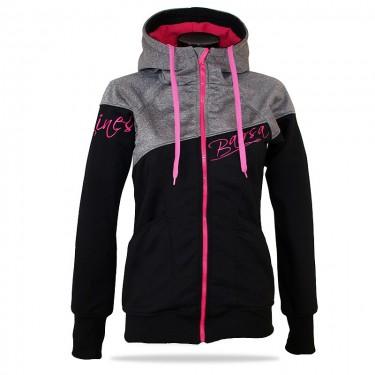 Dámska softshell bundomikina s kapucňou na zips Barrs Double Soft Script Grey Melange/Pink/Black