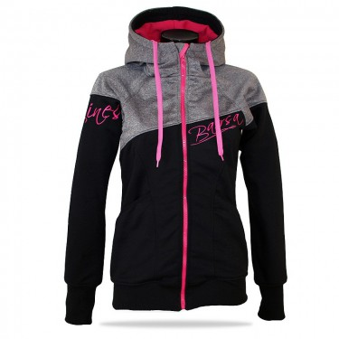 Ladies softshell jacket-hoodie with zipper Barrsa Double Soft Script GREY MELANGE/BLACK