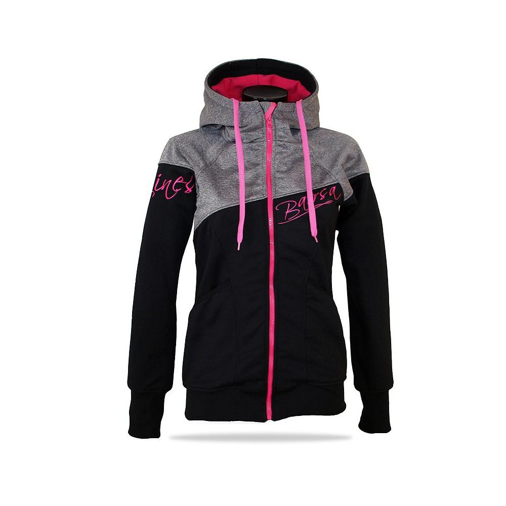 Ladies softshell jacket-hoodie with zipper Barrsa Double Soft Script GREY MELANGE/BLACK
