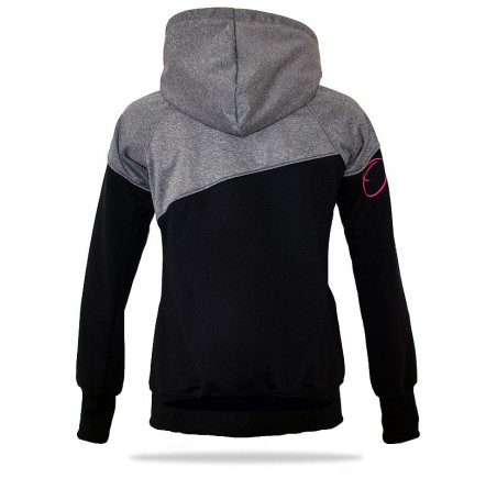 Dámská softshell bundomikina s kapucí na zip Barrsa Double Soft Script Grey Melange/Pink/Black