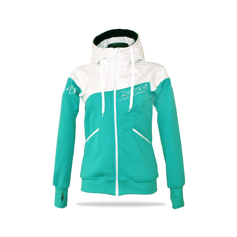 Ladies softshell jacket-hoodie with zipper Barrsa Double Soft Script GREY MELANGE/PINK/BLACK