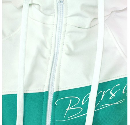 Dámská softshell bundomikina s kapucí na zip Barrsa Double Soft Script Mint/White