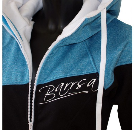 Dámská softshell bundomikina s kapucí na zip Barrsa Double Soft Script Blue/Black