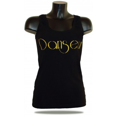 Women's tank top - Summer Lady Denc - black/gold