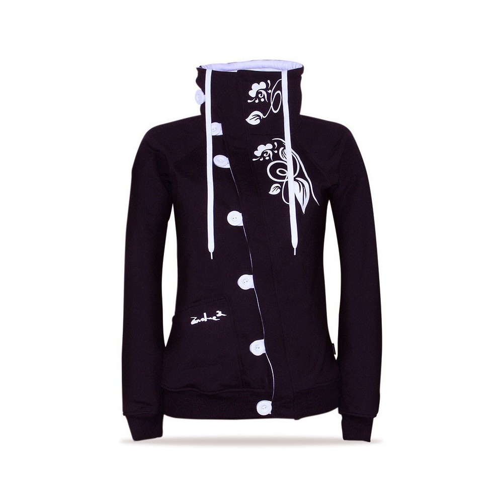 Barsen B/WH – Women's deluxe button down hoodie with a stand-up collar