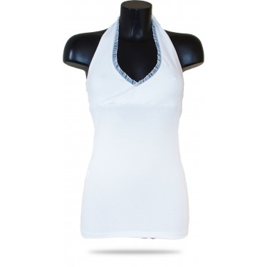 Women's tank top Barrsa Summer Free Lace Top White
