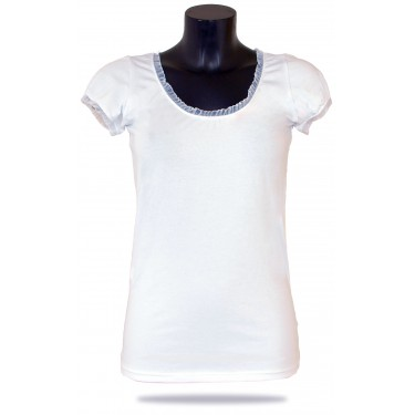 Women's t-shirt Barrsa Summer Lace Tee White