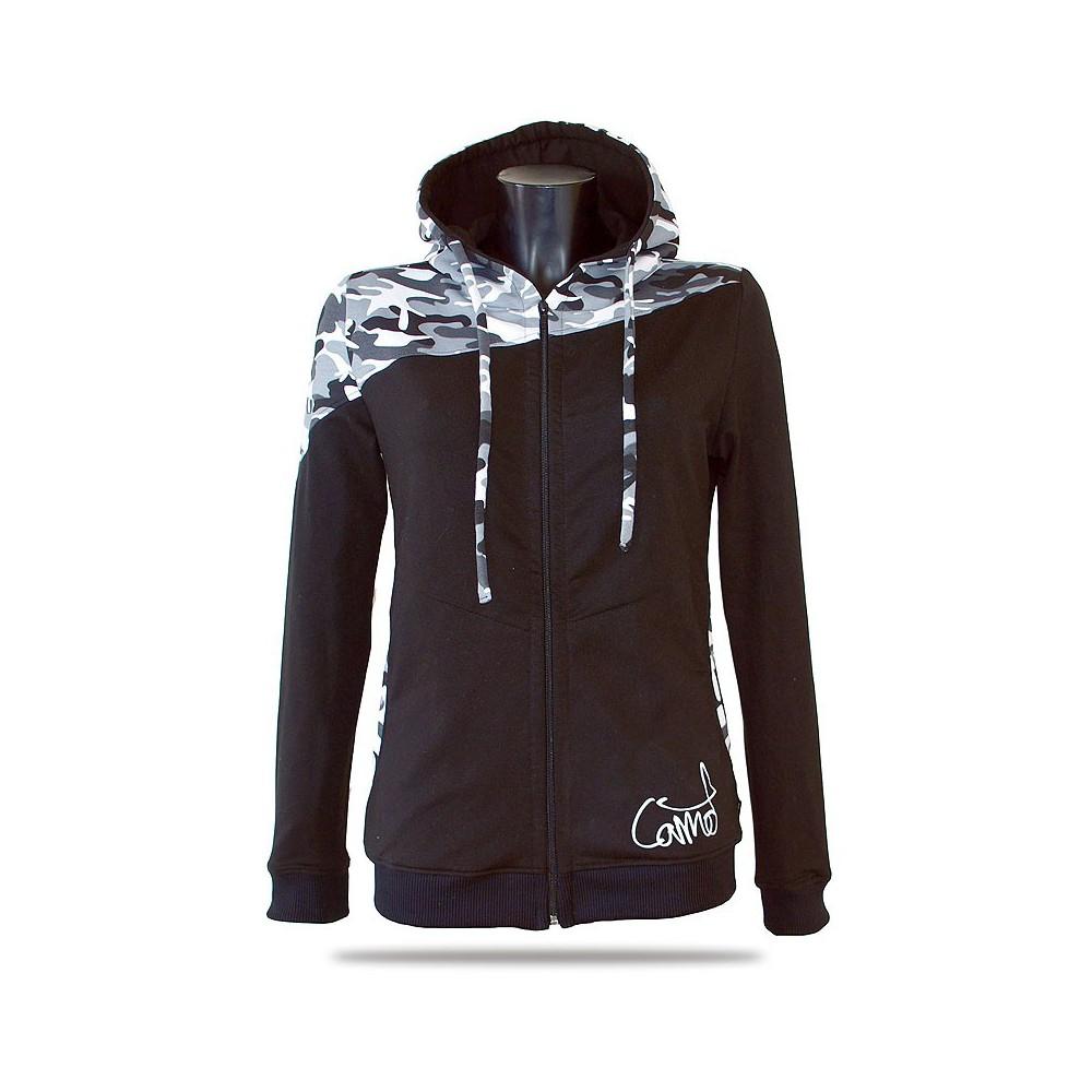 Dámská mikina s kapucí a zipem Barrsa Pattern Grey Camo/Black