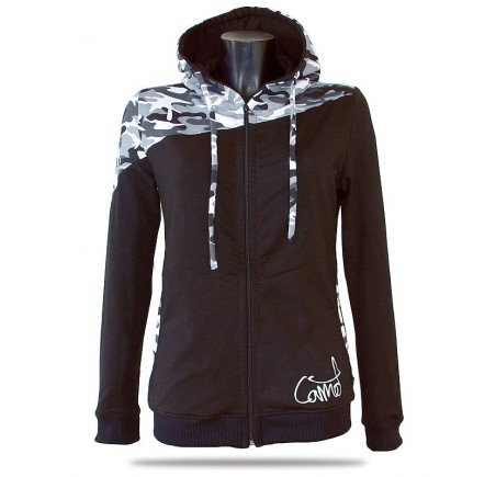 Barrsa Pattern CIRCLES/GREY - Damen Sweatshirt mit Kapuze und Reißverschluss