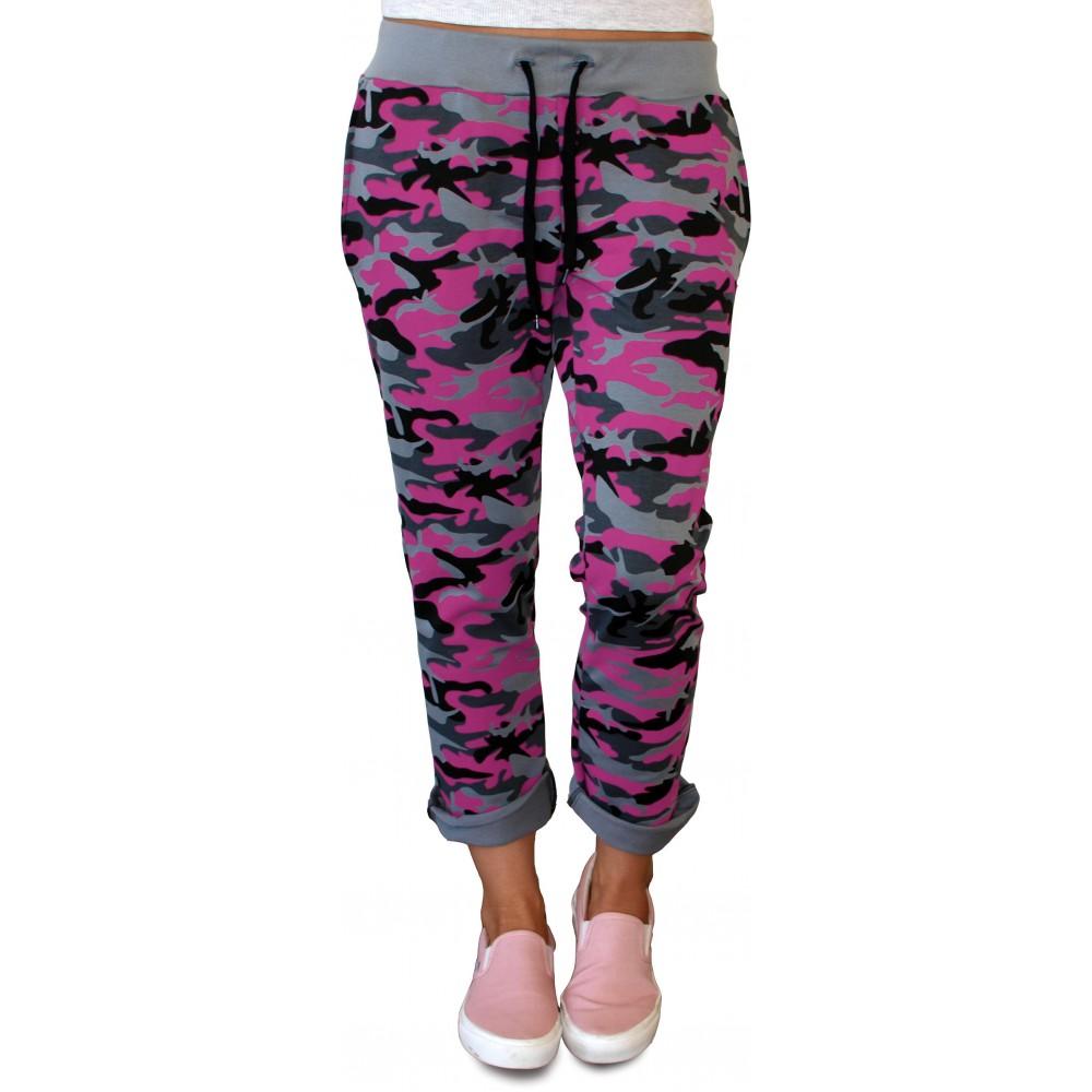 Dámské tepláky Barrsa Light Style camo / pink