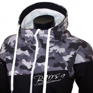 Dámská softshell bundomikina s kapucí na zip Barrsa Double Soft Script White Camo/Black