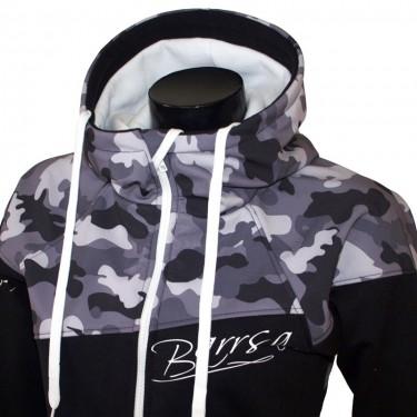 Dámska softshell bundomikina s kapucňou na zips Barrs Double Soft Script White Camo / Black