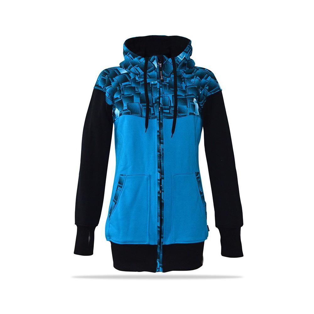 Dámská mikina na zip s kapucí Barrsa Cubes Premium BK/BLU