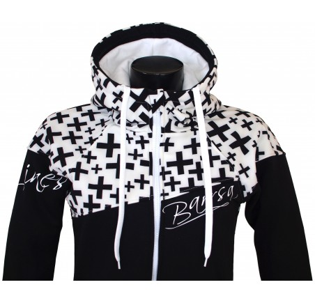 Dámská softshell bundomikina s kapucí na zip Barrsa Double Soft Script White Cross/Black/White