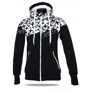 Ladies softshell jacket-hoodie with zipper Barrsa Double Soft Script White Cross/Black/White