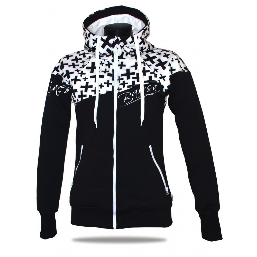Ladies softshell jacket-hoodie with zipper Barrsa Double Soft Script White Cross/Black