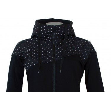 Dámská softshell bundomikina s kapucí na zip Barrsa Double Soft Script Black Dots/Black