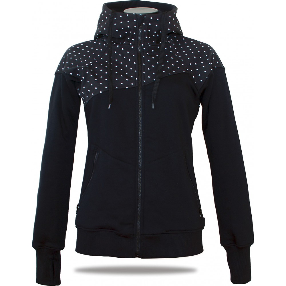Ladies softshell jacket-hoodie with zipper Barrsa Double Soft Script Black Dots/Black