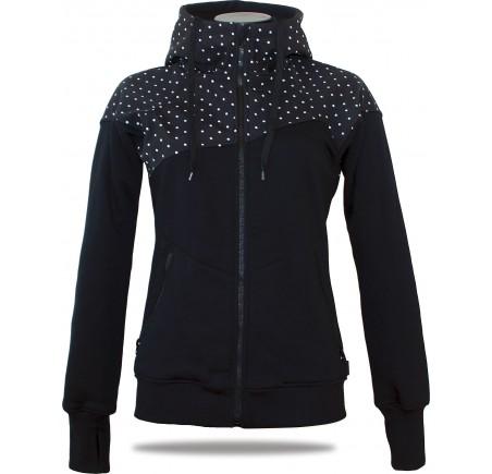 Dámská softshell bundomikina s kapucí na zip Barrsa Double Soft Script Black Dots/Black