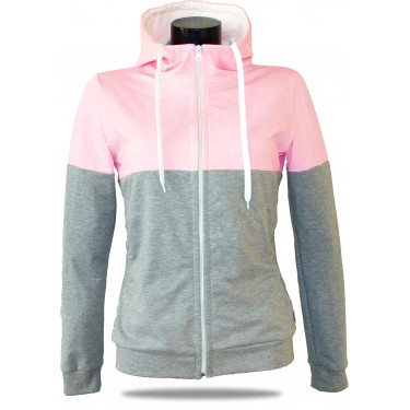 Ladies hoodie with zipper Barrsa Snop Grey/Pink