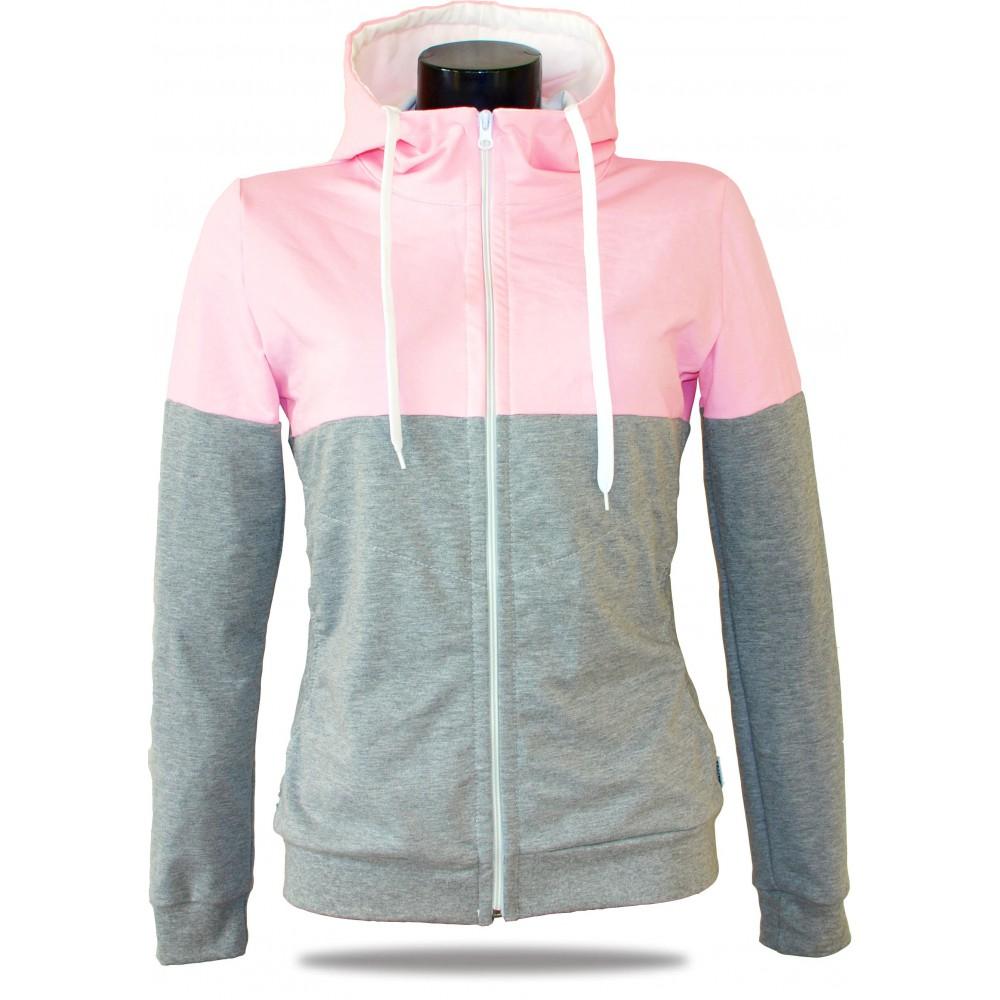 Ladies hoodie with zipper Barrsa Snop Grey/Pink